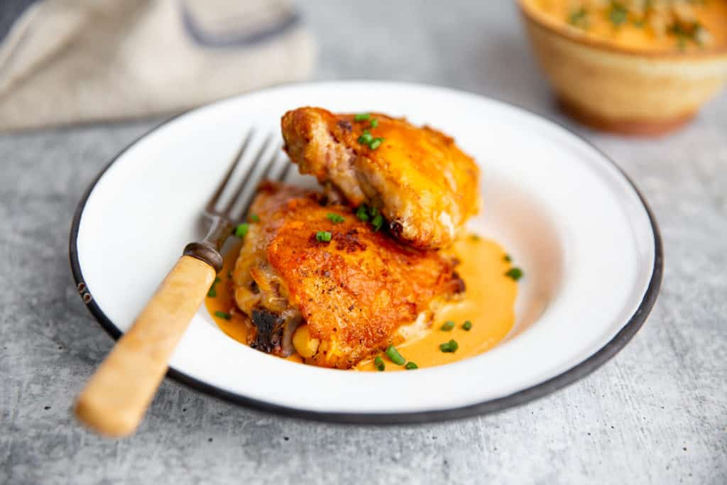 Grilled chicken on a plate with romesco sauce and chives.